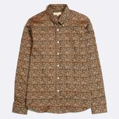 Mod Button Down Long Sleeve Shirt in Brown