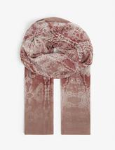 Gerbera abstract-pattern silk stole in Pink
