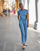 Tia Scoop Back Jersey Jumpsuit in Blue