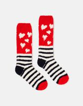 Fabulous Fluffy Socks in Multicoloured and Red