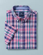 Raven Pop Short Sleeve Check Shirt in Pink and Blue