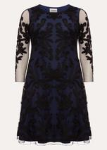 Aimee Tapework Lace Dress in Navy