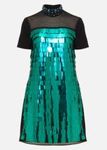 Shula Sequin Dress in Green and Black