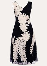 Denise Tapework Lace Dress in Navy