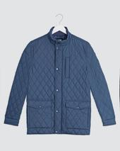 Navy Quilted Three Pocket Jacket Long in Navy