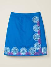 Anville Embroidered Wrap Skirt in Blue