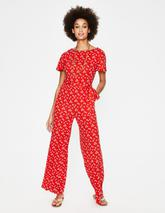 Camille Ponte Jumpsuit in Red
