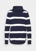 CABLE T NECK - Jumper in Navy