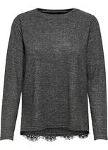 Only Lace Back Crew Neck Jumper in Grey