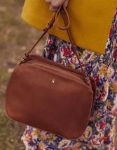 Langton Dome Leather Cross Body Bag in Brown