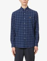 Logo-embroidered custom-fit cotton-poplin Oxford shirt in Navy