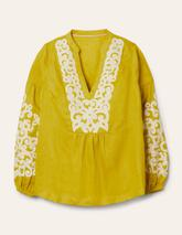 Leonie Linen Top in Yellow
