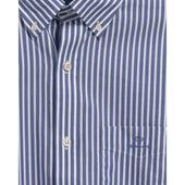 Regular Fit Stripe Broadcloth Shirt in White and Blue