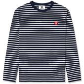 Wood Wood Long Sleeve Mel Stripe Tee in Navy