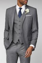 Occasions Grey Plain Slim Fit Suit in Grey