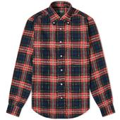 Gitman Vintage Button Down Archive Fluro Slub Check Shirt in Red and Navy