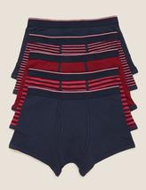 5pk Cotton Stretch Cool & Fresh™ Trunks in Red and Navy