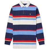 Polo Ralph Lauren Multi Stripe Jersey Rugby Shirt in Multicoloured and Navy