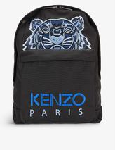 Tiger graphic-embroidered canvas backpack in Black