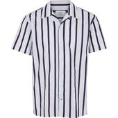 Loose Fit Striped Cotton Cuba Collar Shirt in Grey
