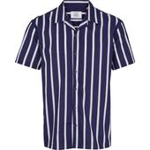 Loose Fit Striped Cotton Cuba Collar Shirt in Navy