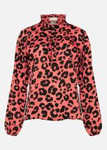Aimee Leopard Print Blouse in Red