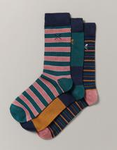 3 Pack Bamboo Cascade Socks in Green and Navy