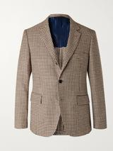 Slim-Fit Houndstooth Linen and Cotton-Blend Blazer in Brown