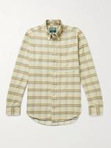 Slim-Fit Button-Down Collar Checked Cotton-Corduroy Shirt in Neutral