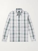 Checked Cotton Oxford Shirt in White