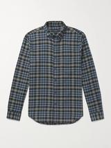 Slim-Fit Button-Down Collar Checked Cotton-Flannel Shirt in Black