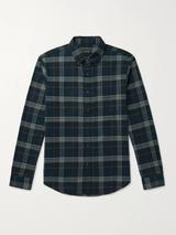 Slim-Fit Button-Down Collar Checked Cotton-Flannel Shirt in Navy