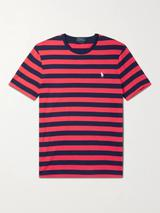 Slim-Fit Logo-Embroidered Striped Cotton-Jersey T-Shirt in Red