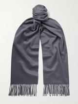 Fringed Cashmere Scarf in Grey