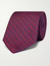 7cm Logo-Jacquard Silk Tie in Red