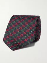 7cm Logo-Jacquard Silk Tie in Black