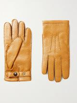 Hampton Cashmere-Lined Full-Grain Leather Gloves in Yellow