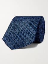 7cm Logo-Jacquard Silk Tie in Blue