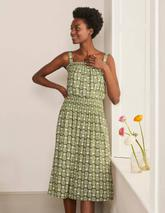 Rosamund Smocked Jersey Dress in Green