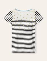 Short Sleeve Breton in Neutral and Navy