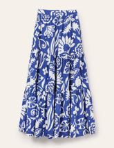 Lorna Tiered Maxi Skirt in Blue