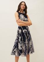 Franchesca Floral Fit And Flare Dress in Black