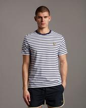 Lyle & Scott Men's Breton T-Shirt in White and Navy