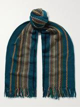 Fringed Striped Crochet-Knit Cotton Scarf in Green