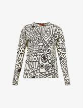 Graphic-print cotton-jersey top in Neutral