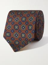 8cm Printed Silk-Twill Tie in Brown