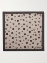 Printed Silk and Cotton-Blend Pocket Square in Neutral