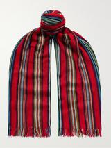 Fringed Striped Crochet-Knit Cotton Scarf in Red