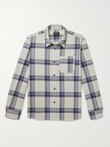 Trek Checked Recycled Cotton-Blend Shirt in Neutral