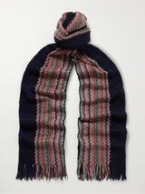 Fringed Striped Crochet-Knit Cotton Scarf in Navy